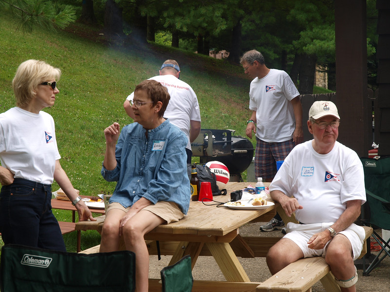 Just hangin'. Kathie Perfetti & Lesley Wischmann chat, Jim Harsha watches, and Tom Harsha & Jeff Cummings cook.
