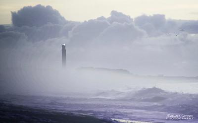 Oak Island Lighthouse shrouded in fog - Oak Island, NC