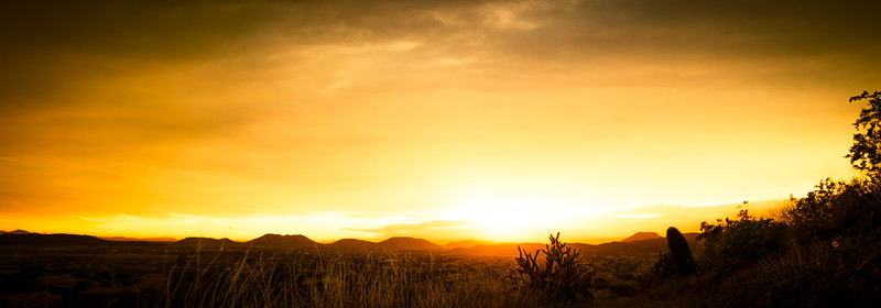 Golden Sunset Panorama over a Desert Landscape