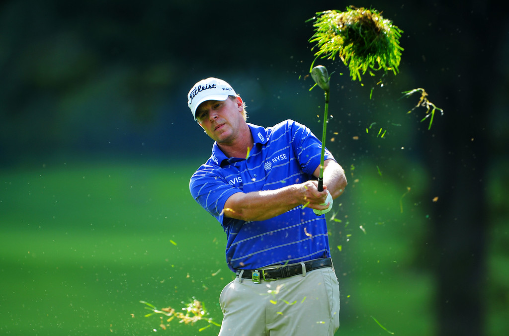 . ROCHESTER, NY - AUGUST 09:  Steve Stricker of the United States hits an approach shot on the 17th hole during the second round of the 95th PGA Championship on August 9, 2013 in Rochester, New York.  (Photo by Stuart Franklin/Getty Images)