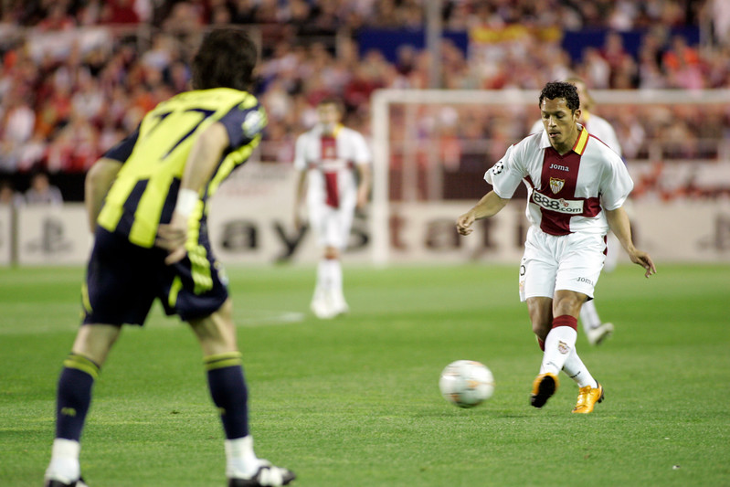 Adriano (Sevilla) kicking the ball. UEFA Champions League first knockout round game (second leg) between Sevilla FC (Seville, Spain) and Fenerbahce (Istambul, Turkey), Sanchez Pizjuan stadium, Seville, Spain, 04 March 2008.