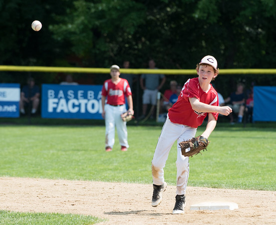 08/06/18 Wesley Bunnell | Staff Rhode Island defeated Vermont 10-0 in a 2018 East Regional Little League game in Bristol on Monday afternoon. Rhode Island short stop Tyler Simon (1) throws to first base for the out.