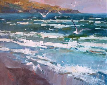 """""""Azov Sea. Kazantip"""" (oil on canvas) by Marina Bodrina"""