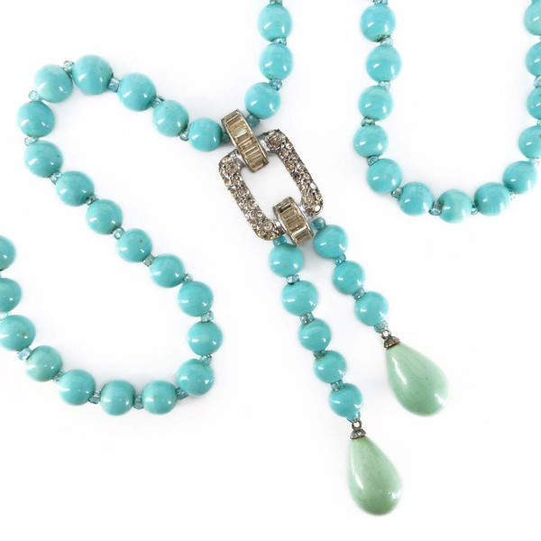 Vintage German Art Deco Silver Blue Glass Bead Negligee Necklace