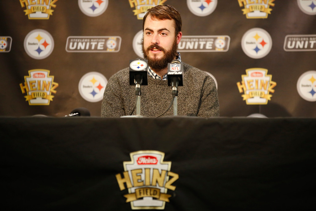 . Pittsburgh Steelers quarterback Landry Jones (3) speaks during a press conference following their 27-24 overtime win against the Cleveland Browns in Pittsburgh, Sunday, January 1, 2017. (AP Photo/Jared Wickerham)