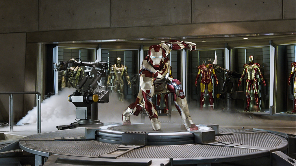 """. This  publicity image released by Marvel shows Robert Downey Jr., as Tony Stark/Iron Man, in a scene from \""""Marvel\'s Iron Man 3.\""""  \""""Marvel\'s Iron Man 3\"""" was one of several upcoming films to receive spotlight treatment with an ad that aired during Super Bowl XLVII on Sunday, Feb. 3, 2013. (AP Photo/Marvel)"""