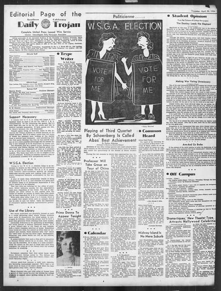 Daily Trojan, Vol. 27, No. 126, April 30, 1936