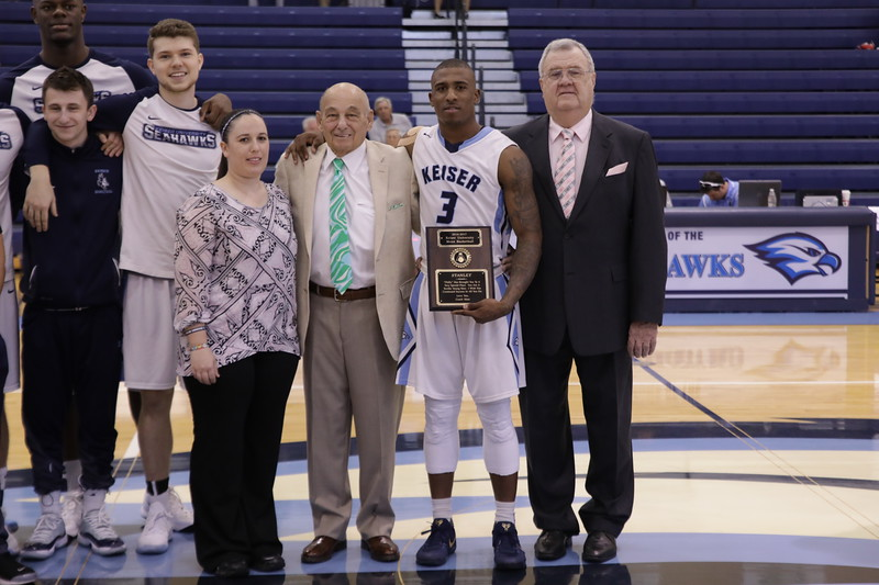 Keiser Senior Stanley Whittaker with Trainer Lindsay Moccia Coach Massimino and Coach Sullivan