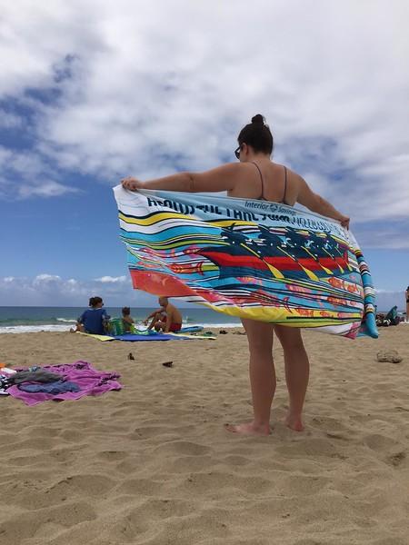 Sarah's towel enjoying the beach near Kona, Hawaii