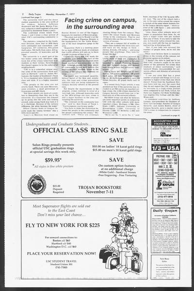 Daily Trojan, Vol. 72, No. 34, November 07, 1977
