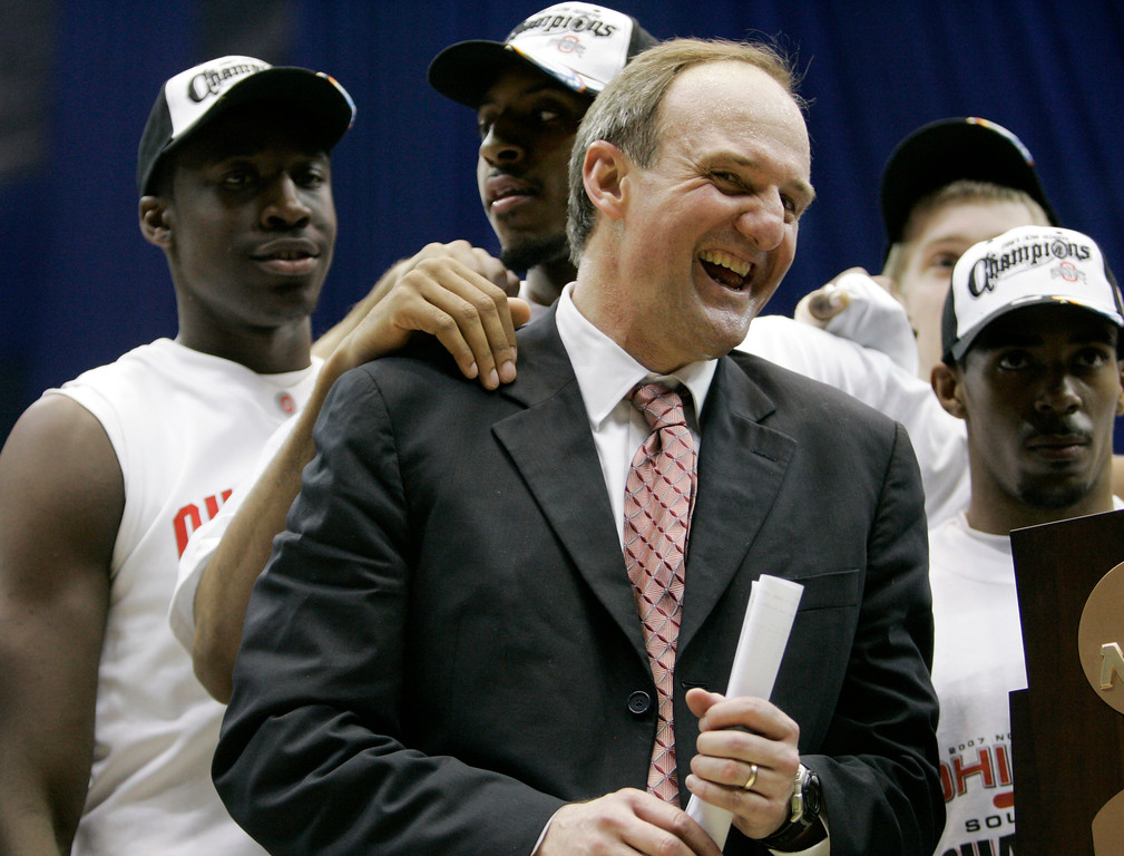 . Ohio State coach Thad Matta celebrates following a 92-76 win over Memphis in the  NCAA South Regional final basketball game at the Alamodome in San Antonio Saturday, March 24, 2007.  (AP Photo)