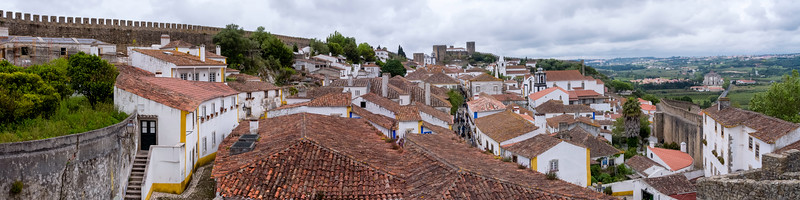 Panorama of the walled city of Obidos