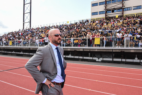 09/08/17 Wesley Bunnell   Staff New Britain High School held a pep rally at Veteran's Stadium on Friday afternoon. NBHS Principal Joseph Pinchera.