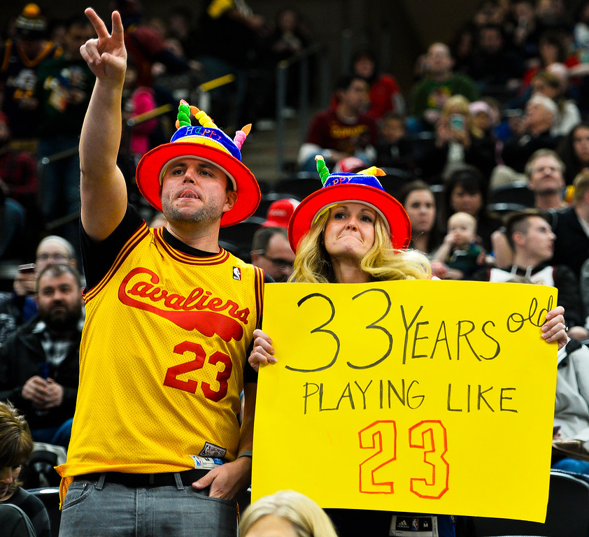 . Fans hold up a sign celebrating Cleveland Cavaliers forward LeBron James\' birthday before an NBA basketball game against the Utah Jazz, Saturday, Dec. 30, 2017, in Salt Lake City. (AP Photo/Alex Goodlett)