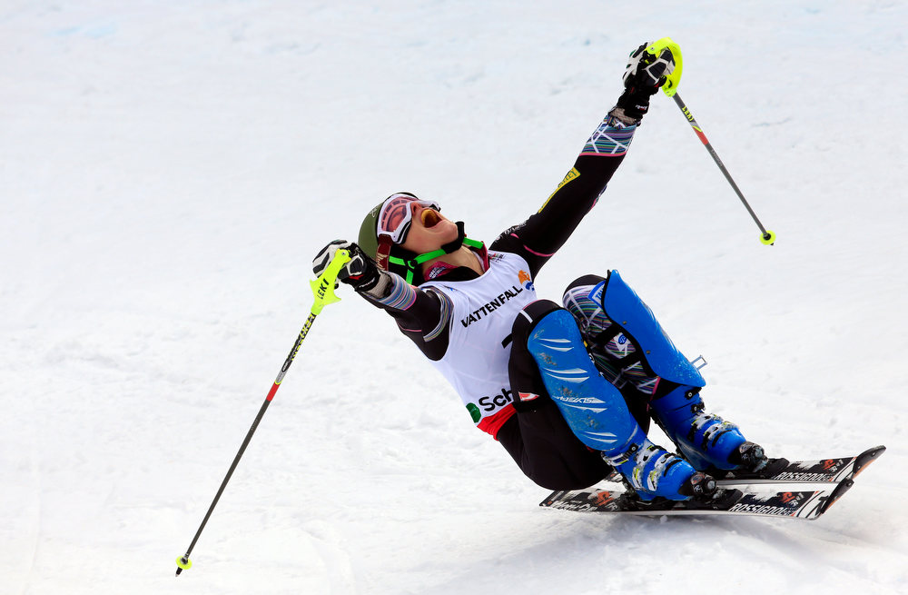 Description of . US Resi Stiegler reacts after the second run of the women's slalom at the 2013 Ski World Championships in Schladming, Austria on February 16, 2013.  ALEXANDER KLEIN/AFP/Getty Images