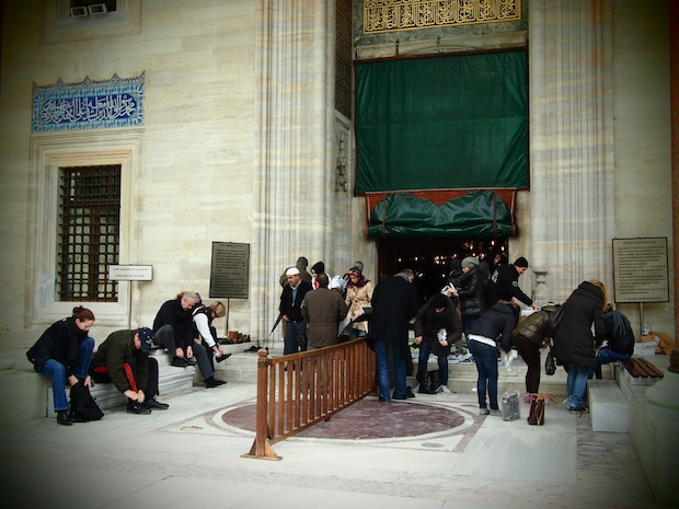 Visitors outside Suleymaniye Mosque, Istanbul