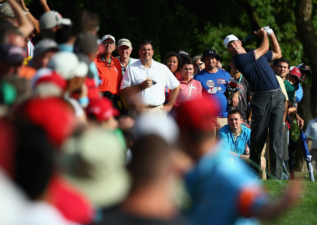 . DUBLIN, OH - OCTOBER 03: Matt Kuchar of USA hits his second shot on the 10th hole during Day One Four-Ball Matches at the Muirfield Village Golf Club on October 3, 2013 in Dublin, Ohio.  (Photo by Andy Lyons/Getty Images)