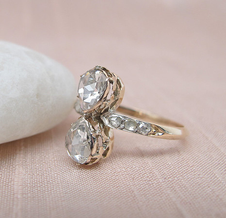 Twin Stone Pear Rose Cut Diamond Ring