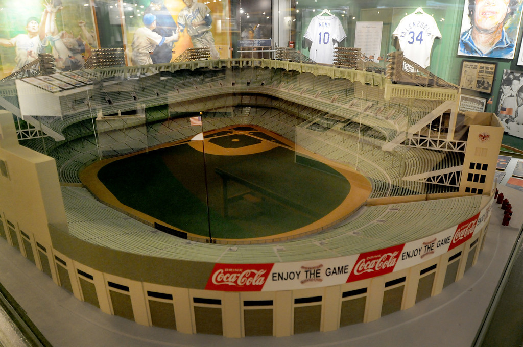 ". A Yankee Stadium replica is included in the ""Baseball!\"" exhibit. The Exhibition opens April 4, 2014 at the Ronald Reagan Presidential Library and Museum.  Running through September 4, 2014, Baseball is a 12,000 square foot exhibition featuring over 700 artifacts, including some of the rarest, historic and iconic baseball memorabilia.  (Photo by Dean Musgrove/Staff Photographer)"
