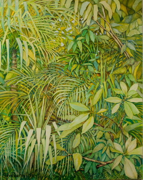 "© 2011 John Rachell Title: Garden Image: 48"" x 60""d Dated: January 22, 2011 Medium & Support: Oil paint on canvas Signed: LL Signature"
