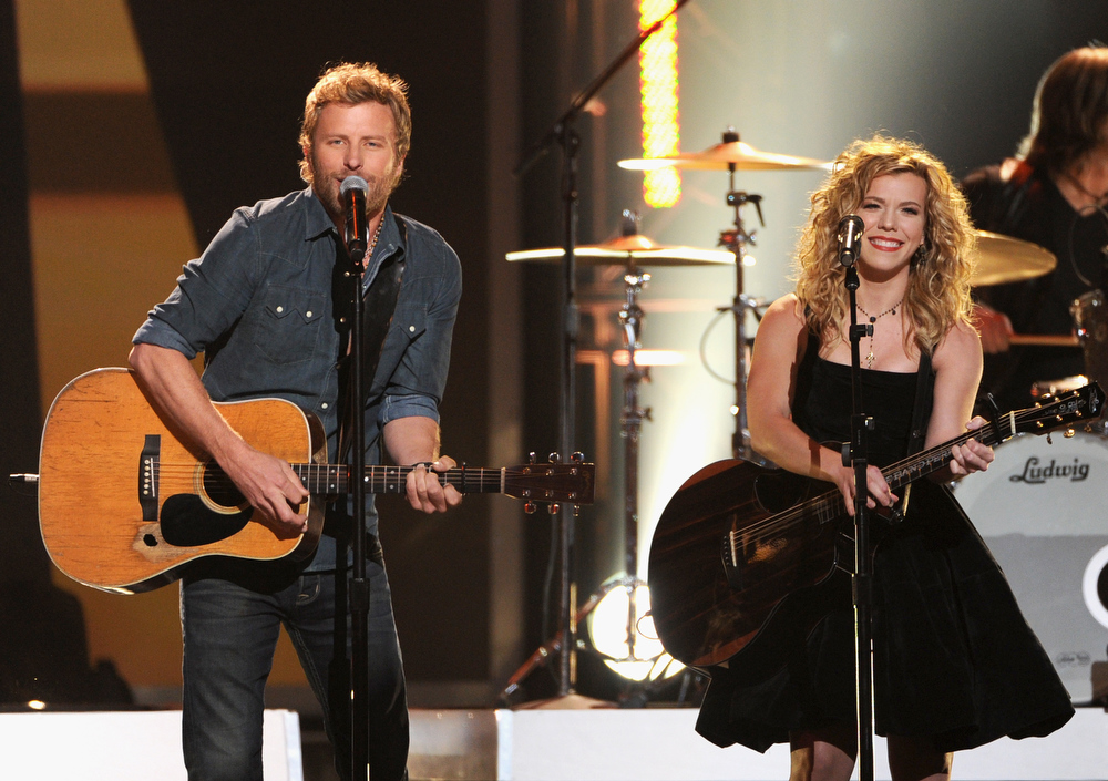 Description of . Dierks Bentley and Kimberly Perry of The Band Perry onstage at The GRAMMY Nominations Concert Live!! held at Bridgestone Arena on December 5, 2012 in Nashville, Tennessee.  (Photo by Kevin Winter/Getty Images)