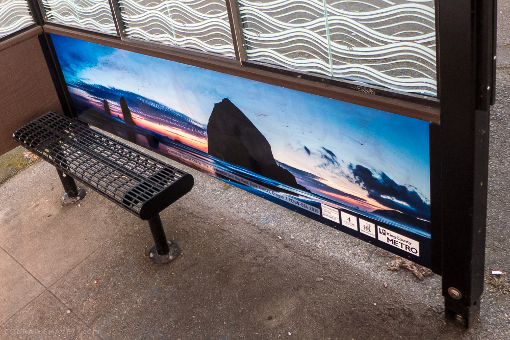A closer look at the Haystack Rock panorama by Conrad Chavez installed on site