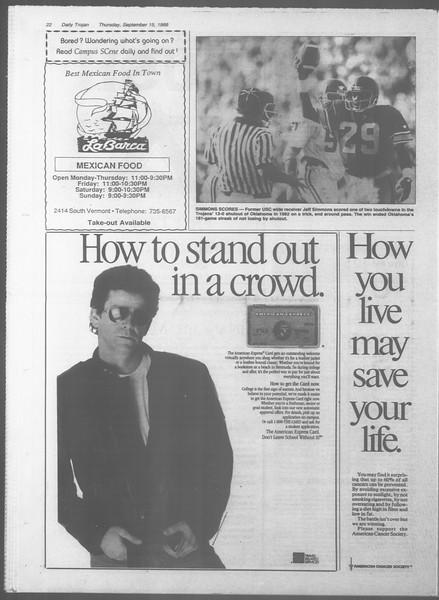 Daily Trojan, Vol. 107, No. 7, September 15, 1988