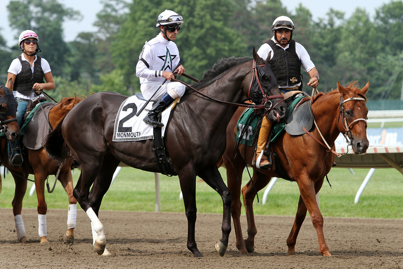 Take Charge Indy (A.P. Indy) and jockey Gary Stevens before the Monmouth Cup (Gr II) at Monmouth Park 7/28/13. Trainer: Patick Byrne. Owner: WinStar Farm