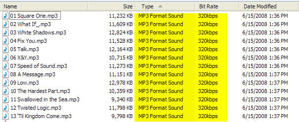 MP3 files after conversion from FLAC