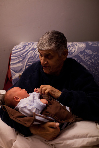 Papa Charlie holding Henry at our house in Mattoon, Illinois on November 19,  2011. (Jay Grabiec)