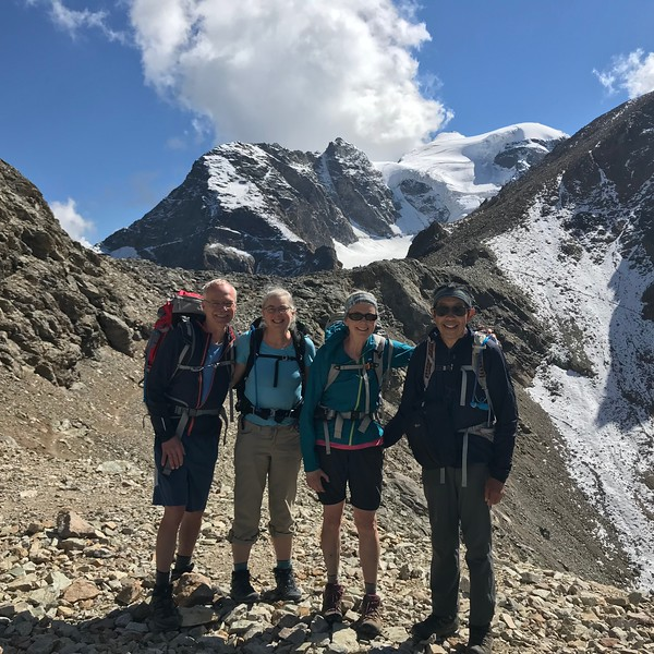 Happy to arrive at the highest point of the Tour of the Bernina near Berghaus Diavolezza.