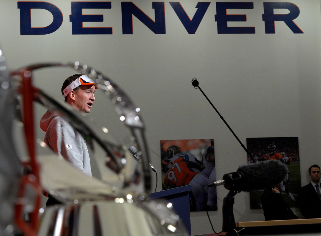 . Denver Broncos quarterback Peyton Manning (18) addresses the media during his press conference January 15, 2014 at Dove Valley. The Broncos will face the patriots for the AFC title.  (Photo by John Leyba/The Denver Post)