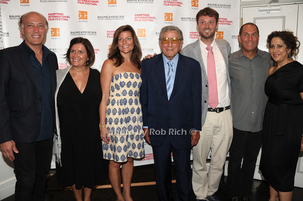 "Danny Bennett, Karin Arikian, Michelle Peranteau, Tony Bennett, David Nugent, Stuart Match Suna, and Jennifer Lebeau  attend  The HIFF Summerdoc screening of ""The Zen of Bennett""  at Guild Hall iin East Hampton. (August 13, 2012)