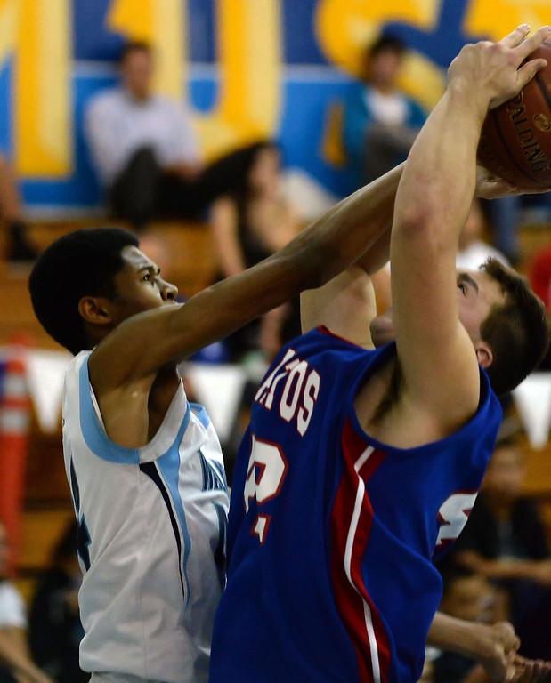 . Walnut\'s Richard Rycraw (C) (44) blocks the shot of Los Altos\' David Tolmachoff (42) in the first half of a prep basketball game at Walnut High School in Walnut, Calif., on Wednesday, Jan. 22, 2014. (Keith Birmingham Pasadena Star-News)
