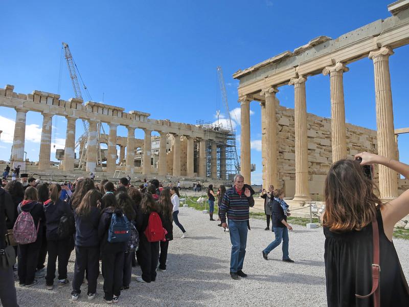Parthenon (doric columns on left). Erechtheum (Ionic columns on right).