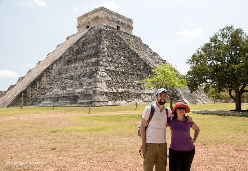 Paul and Ruth pose in front of the Mayan temple