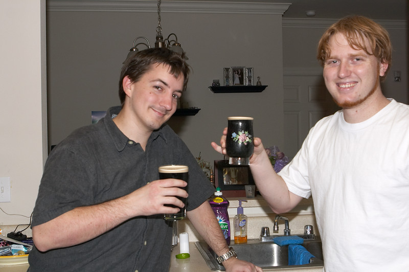 Ahh, Guinness, I'd missed you. Bryan generously lets me use the pint glass, consigning himself to the decidedly un-manly granny glass