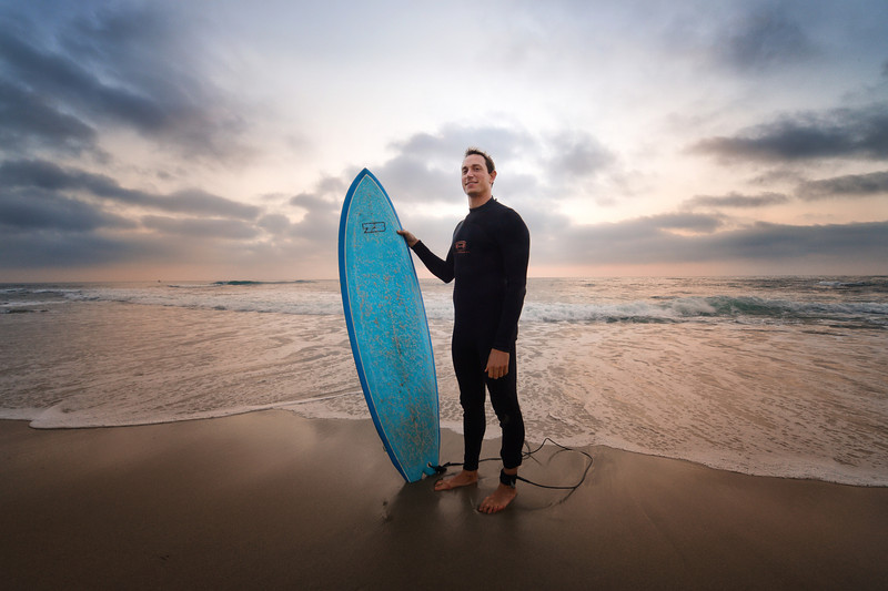 bram before a sunset surf in san diego