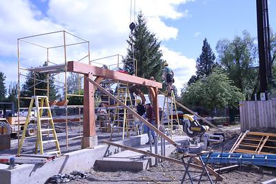 Fir Street Park Pavilion Timber Frame Assembly 6-29-14