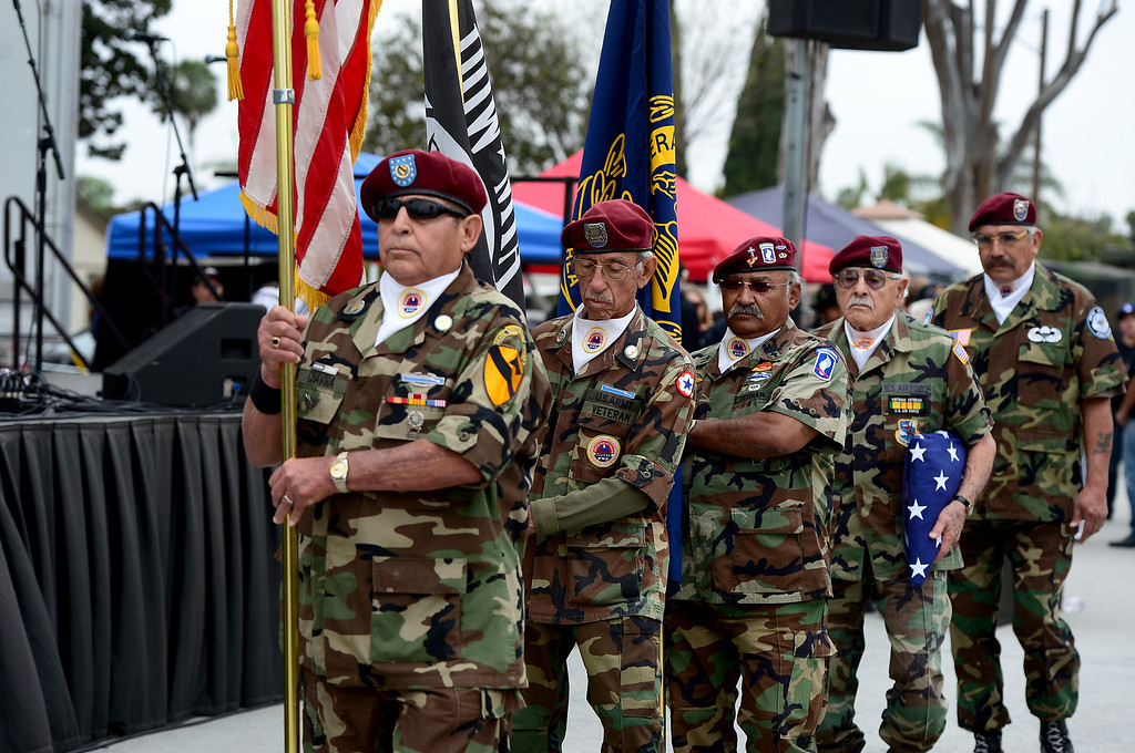 . AMVETS State Honor Guard presents colors during Jose Ramos\' annual Welcome Home Vietnam Veterans Day is held at California High School in Whittier Saturday, April 13, 2013.  (SGVN/Staff Photo by Sarah Reingewirtz)