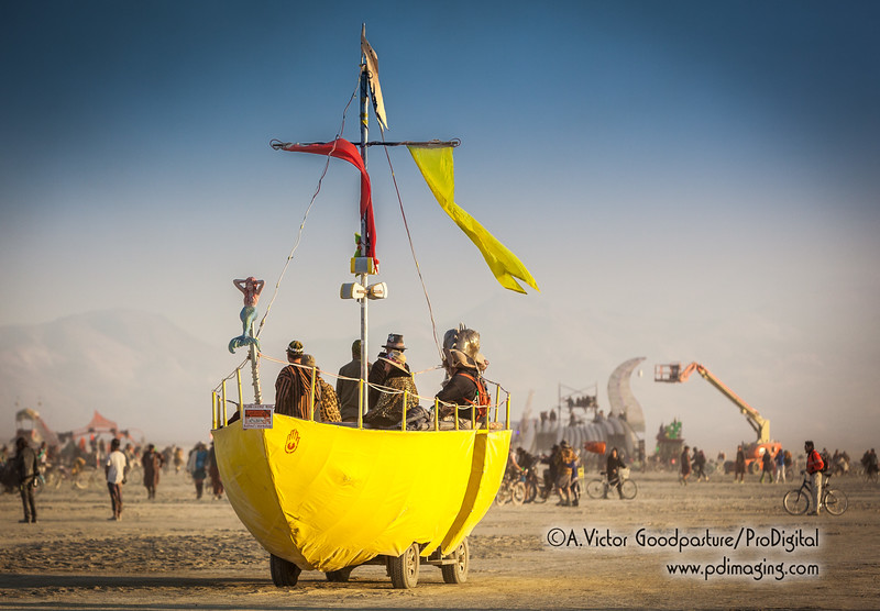 Art cars need a license from the DMV (Department of Mutant Vehicles) to drive within Black Rock City and the playa.