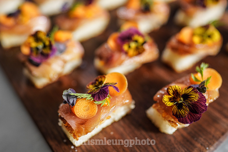 """8/14/19 Sony Kando 3.0  in Sunriver, OR. """"Lights, Camera, Appetite with Tyler Florence.  Featuring: Hamachi, Crispy Rice, Ginger-Carrot Puree, Carrot-Unagi Sauce.  ©Chris M. Leung Photography,"""