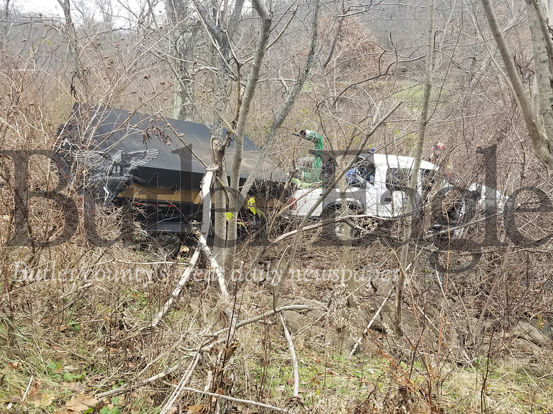 Photo of a crash at 10 a.m. on Tuesday, December 4, on Renfrew Road in Penn Township.