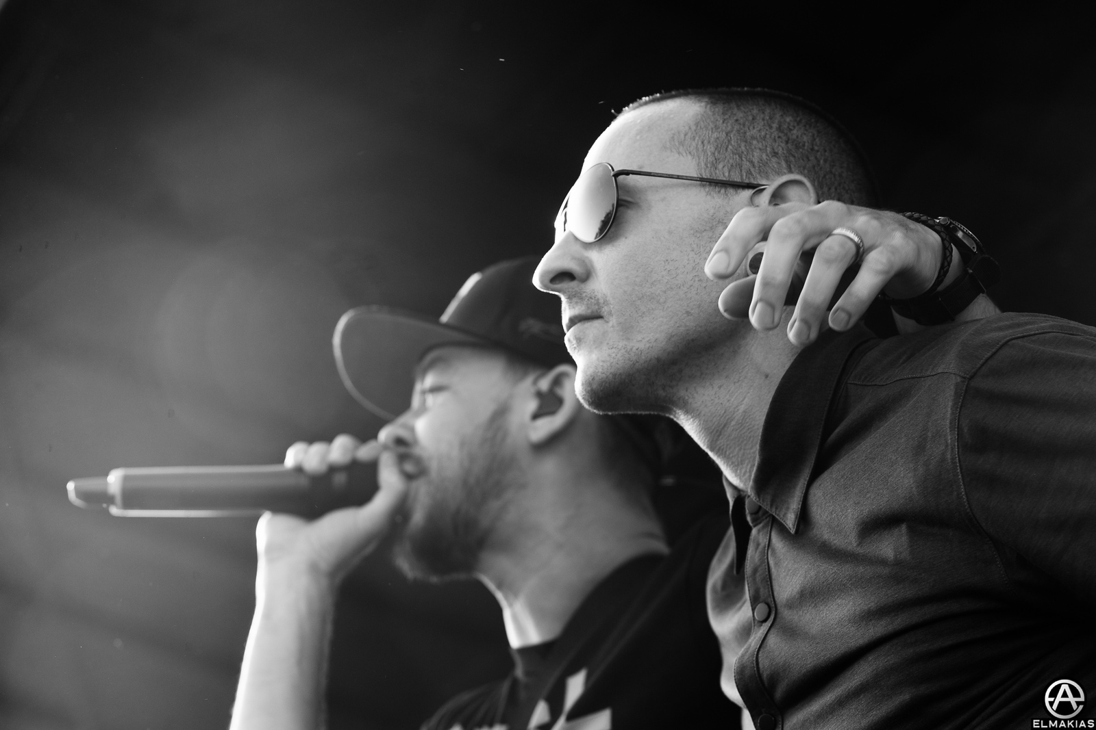 Chester Bennington and Mike Shinoda of Linkin Park playing Warped Tour