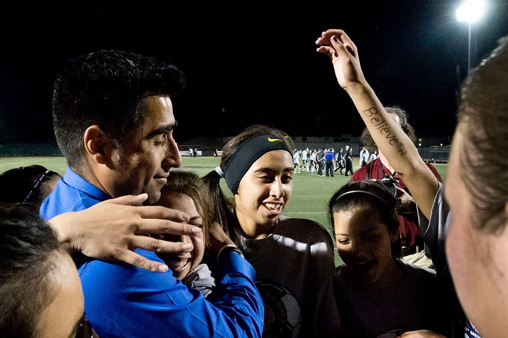 . Marshall High celebrate after winning the CIF soccer championship game against Arroyo High at Warren High School in Downey on Friday night, March 1, 2013. Marshall won 2-0. (SGVN/Staff photo by Watchara Phomicinda)