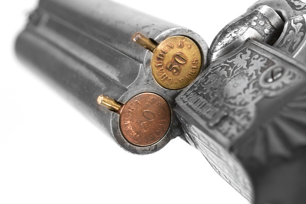 Early Jules Joseph Chaudun pinfire cartridges made for early Casimir Lefaucheux pistol