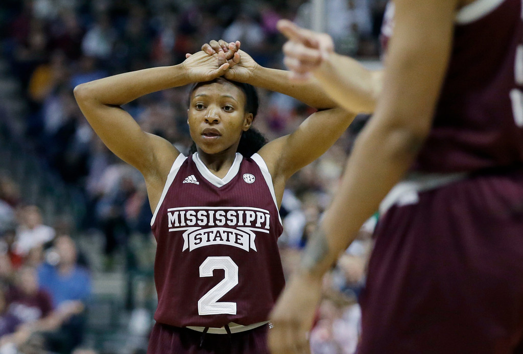 . Mississippi State guard Morgan William (2) reacts after a foul call, during the second half of the team\'s game against South Carolina in the final of NCAA women\'s Final Four college basketball tournament, Sunday, April 2, 2017, in Dallas. (AP Photo/LM Otero)