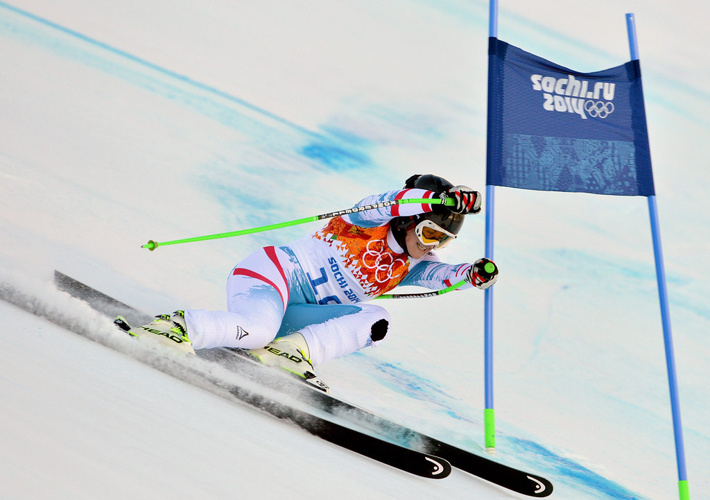 . Elisabeth Goergl of Austria in action during the Women\'s Downhill race at the Rosa Khutor Alpine Center during the Sochi 2014 Olympic Games, Krasnaya Polyana, Russia, 12 February 2014.  EPA/JUSTIN LANE