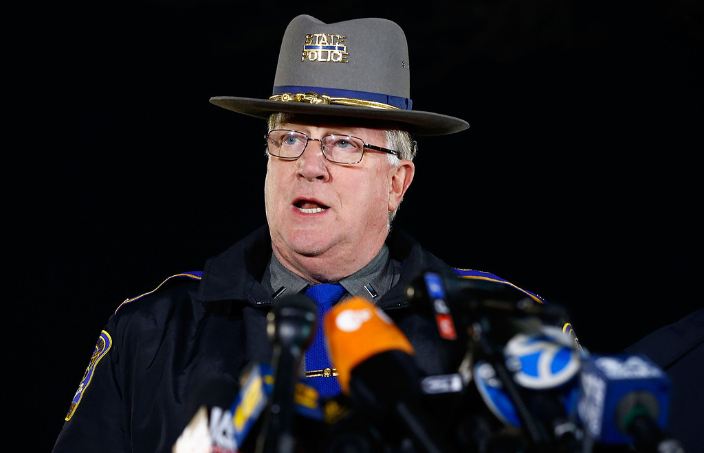 . State Police spokesman Lt. J. Paul Vance briefs the media about the elementary school shooting during a press conference at Treadwell Memorial Park on December 14, 2012 in Newtown, Connecticut. According to reports, there are 27 dead, including 20 children, after a gunman identified as Adam Lanza, opened fire in at the Sandy Hook Elementary School in Newtown, Connecticut. The shooter, identified as Adam Lanza was also found dead at the scene. (Photo by Jared Wickerham/Getty Images)