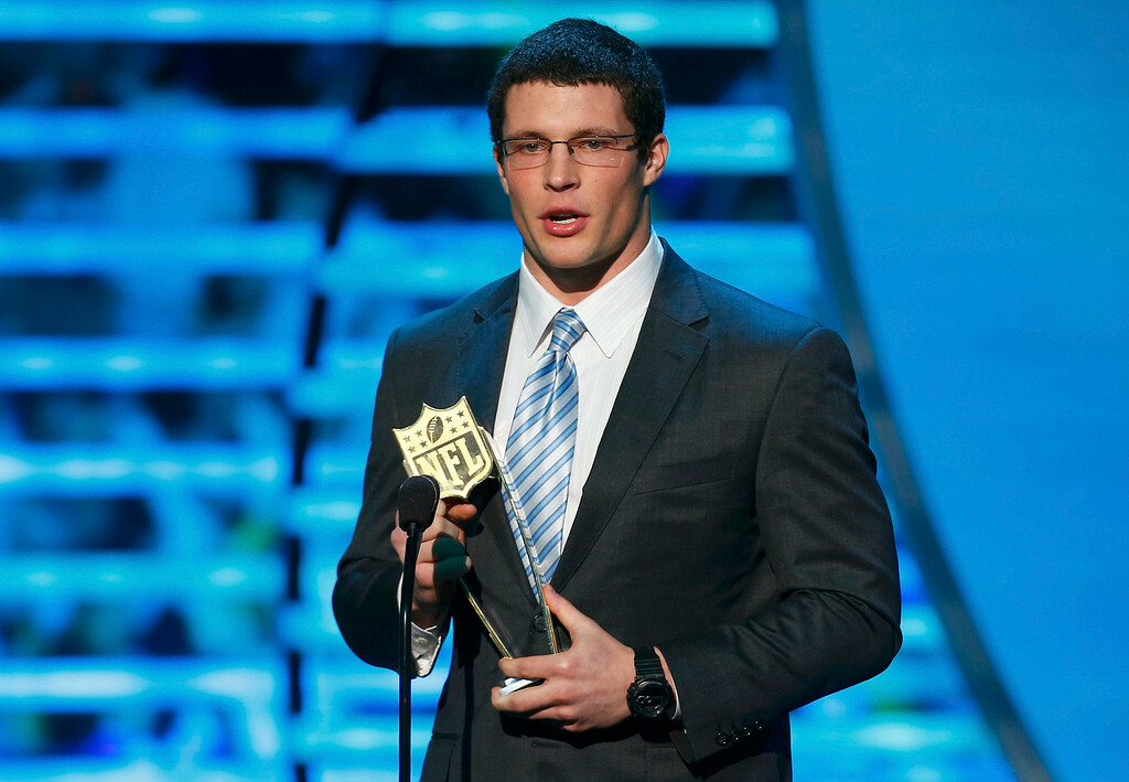. Carolina Panthers linebacker Luke Kuechly accepts the award for NFL Defensive Rookie of the Year during the NFL Honors award show in New Orleans, Louisiana February 2, 2013.  REUTERS/Jeff Haynes